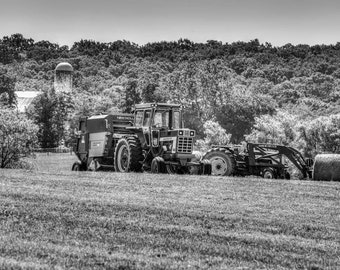 Maryland Art, Farm Machinery in the Field , Black and White Fine Art Photography, Rural Art, Wall Art