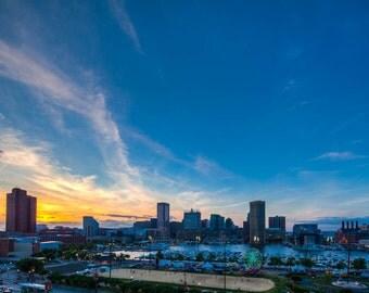 Baltimore Skyline, Sailabration, Baltimore Inner Harbor,  Fine Art Photography, Maryland Art, Baltimore Art