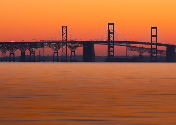 Maryland Art, Chesapeake Bay Bridge at Sunset, 7x10 Mounted Fine Art  Photography, Sunset Photography
