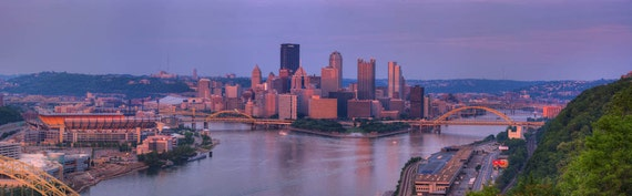 Pittsburgh at Sunset from West End, Fine Art Photography, Panoramic Photo, Panoramic Art, Panoramic Photography, Panoramic Print