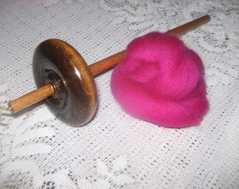 Handmade Top Whorl Drop Spindle Notched 2.4oz. and Wool Kit Learn To Hand Spin Yarn Free shipping