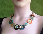 Statement Jewelry,Multicolored Leather Circles Necklace-Made To Order