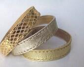 Set Of Three Gold Shades Leather Bracelets