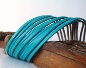 Sliced Teal  Leather  Double Cuff-Bracelet