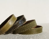 Set  Of  Four Leather Bracelets in Olive Green/ Army Green