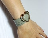 Sliced Gray Wet Look  Leather Cuff Bracelet / Gold Heart Charm