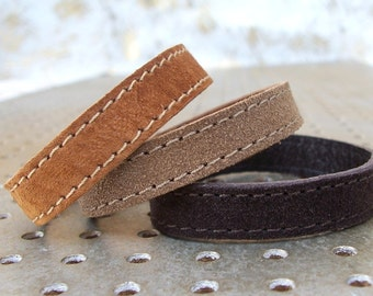 Set Of Three Bracelets / Three Brown Shades Suede Bracelets