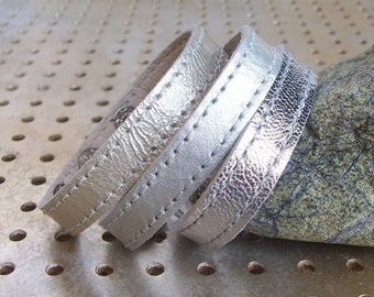 SALE, Set Of Three Silver Leather Bracelets