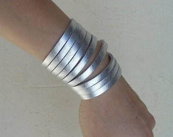Sliced Silver Leather Cuff Bracelet