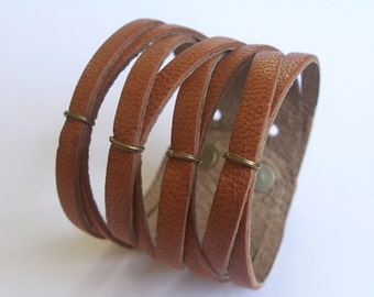 Multi Strand Bracelet ,Braided Leather Cuff , Brown  Genuine Leather