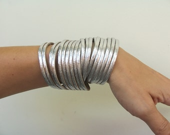Leather Wrap Bracelet.Multi-Strand Leather Bangle. Sliced Silver  Genuine Leather Cuff