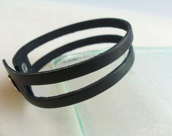 SALE, Simple Black Leather Bracelet