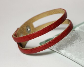 SALE,Simple Red Leather Bracelet