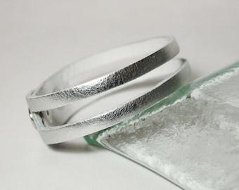 Simple Silver Leather Bracelet