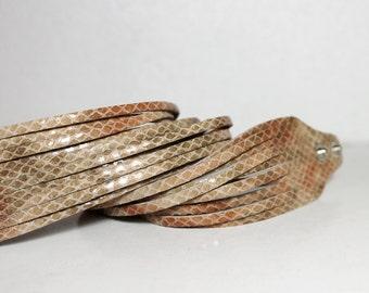SALE Snakeskin Print Leather Cuff /  Python Print Genuine Leather/ Pink  Tan Wrap Bracelet