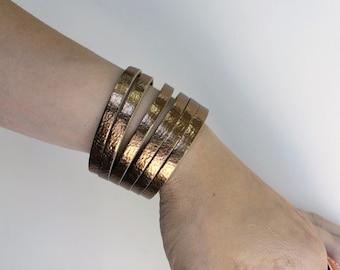 SALE,Sliced Bronze Leather  Bracelet / Metallic Leather Cuff