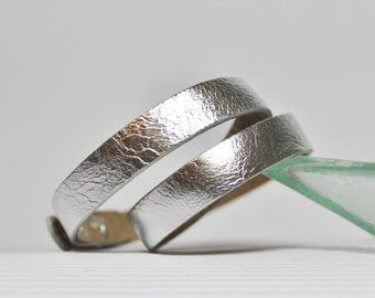 Silver  Leather   Wrap  Bracelet