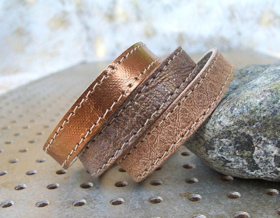Set Of Three Brown-Bronze Shades Leather Bracelets