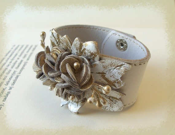 Cream  Leather  Cuff Bracelet White With Gold Leather Flowers