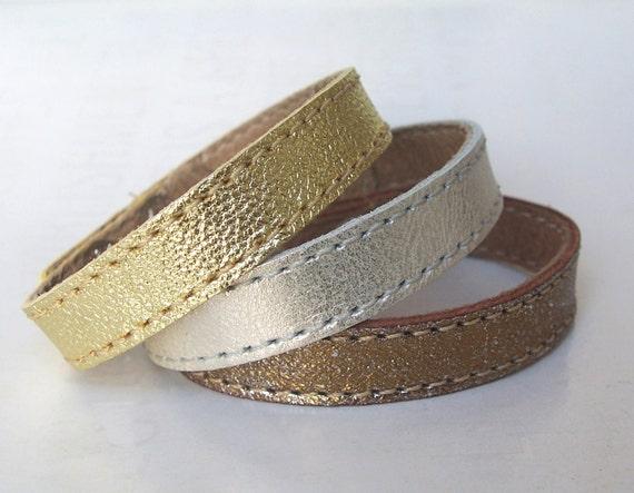 Set of Three Leather Bracelets,Gold Silver And Bronze Leather Bracelets