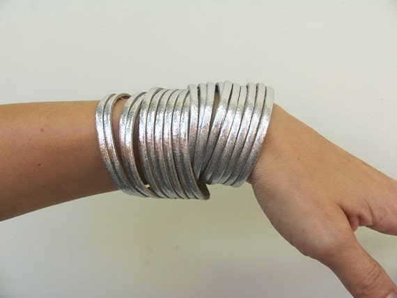 Leather Wrap Bracelet.Multi-Strand Leather Bangle, Sliced Silver  Genuine Leather Cuff