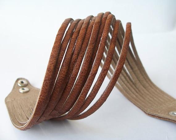 Brown  Double Wrap Leather Cuff Bracelet