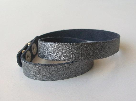 Metallic Gray  Leather Narrow Double Wrap Bracelet