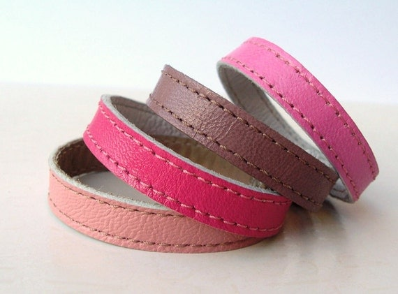 Set  Of  Four Leather Bracelets in Pink  Shades