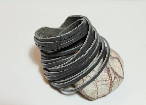 Sale / Sliced Grey  Leather Double Wrap Cuff-Bracelet