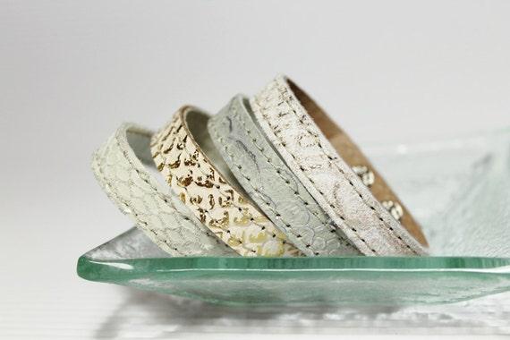 Set Of Four Snakeskin Print  Leather Bracelets