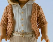 American Girl Doll Clothes - Striped Skinny Jeans, Pintucked Shirt, Crochet Lace Cardigan, and Belt