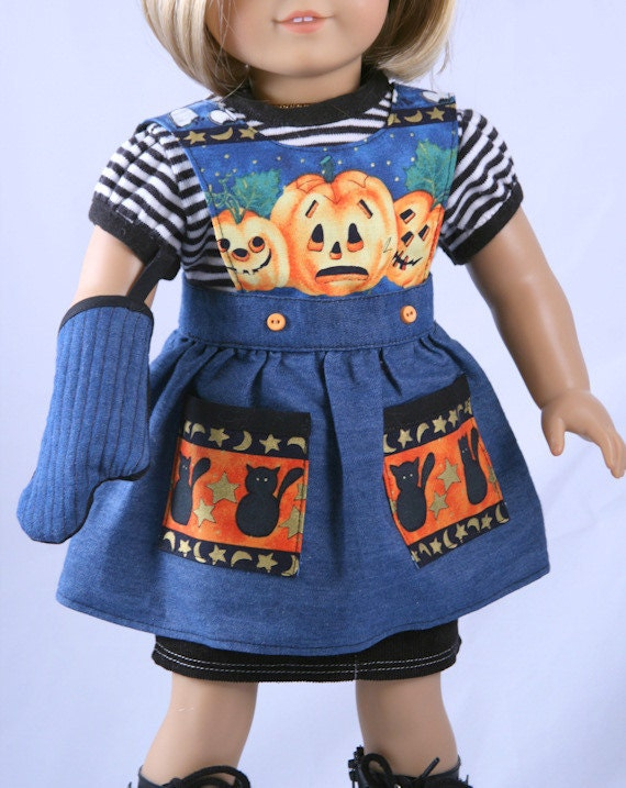 American Girl Doll Clothes - Halloween Apron and Quilted Mitt