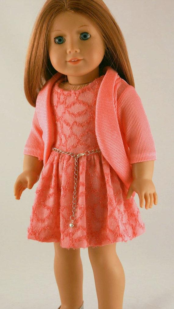 American Girl Doll Clothes Spring Dress in Coral Knit American Girl