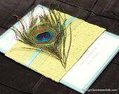 Peacock Feather in One Panel Wedding Invitation