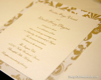 Romance Damask Wedding Gate Fold Invite in Champagne Metallic