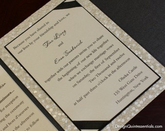 Embossed Pebble Wedding Pocket Fold Invitation Suite in Ribbon Bow