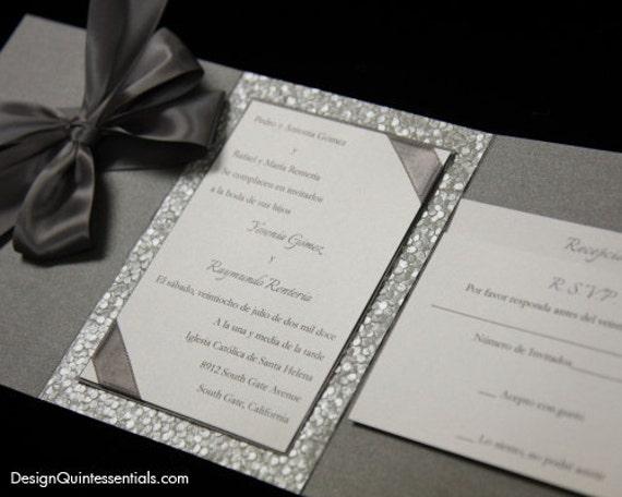 Folded Wedding Invitations: Pewter Embossed Pebble Wedding Tri-Fold Invitation Suite