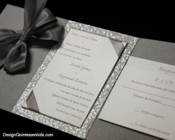 Paper For Wedding Invitation: Pewter Embossed Pebble Wedding Tri-Fold Invitation Suite