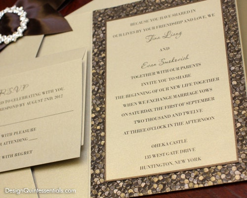 Embossed Card For Wedding Invitations: Bronze Embossed Pebble Wedding Pocket Fold Invitation Suite W