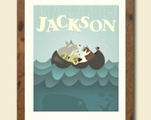 8 X 10 Personalized children's art featuring a group of woodland creatures at sea