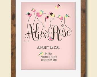 Personalized nursery art print featuring your baby's name and birth stats
