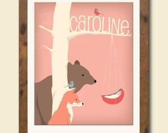 Personalized children's illustration, woodland animals gazing at a newborn, baby shower gift, nursery art