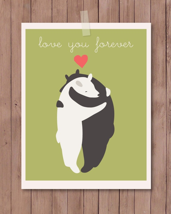 """Art print features 2 hugging bears with the phrase """"Love You Forever"""". 8"""" X 10""""."""
