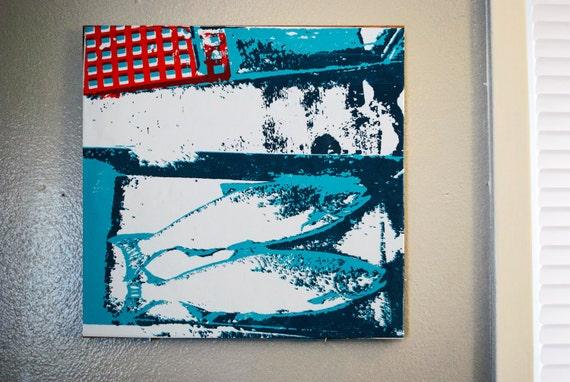 Two Fish screen print on tile