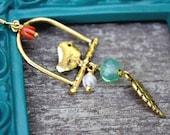 Earrings.Bird.Aqua.Moonstone.Beads.Coral.Gold Handmade Jewelry, Boho Chic