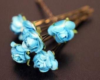 Bridal Hair Accessories, Wedding Hair Flower, Something Blue Hair Flower, Bridesmaid Hair Accessory, Brass Bobby Pin - Set of 6