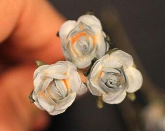 Moon Light Rose, Bridal Hair Accessories, Bohemian Wedding Hair Accessory,  Gray Hair Flower, Bridesmaid Hair Flower Bobby Pin - Set of 3