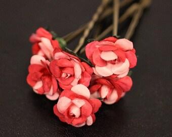 Bridal Hair Accessories, Wedding Hair Accessory, Bridesmaid Hair Flower, Pink Hair Flower, Brass Bobby Pin - Set of 6