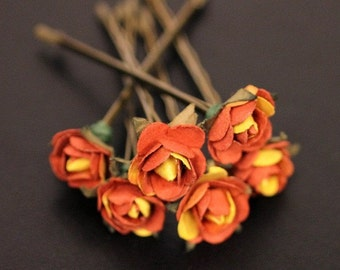 Cactus Rose Bridal Hair Accessories Bridesmaid Hair Flower - Burnt Orange Yellow Paper Flower Brass Bobby Pin - Set of 6