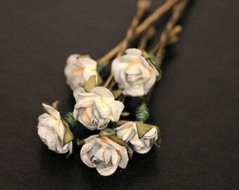 Moon Light Rose Bridal Hair Accessories Wedding Hair Flower - Blue Gray Paper Flower Bobby Pin - Set of 6